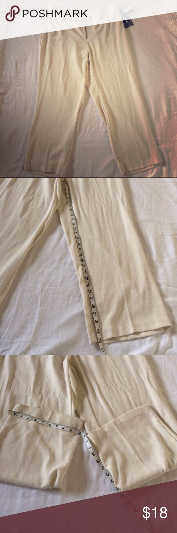 Slimming solution beige stretch dress pants Spring NWT Sag Harbor women's beige stretch dress pants. With slimming solution. Spring collection. MSRP $40. Linen type field to the pant material. 45% polyester 35% rayon 15% linen 5% spandex. Sag Harbor Pants Trousers