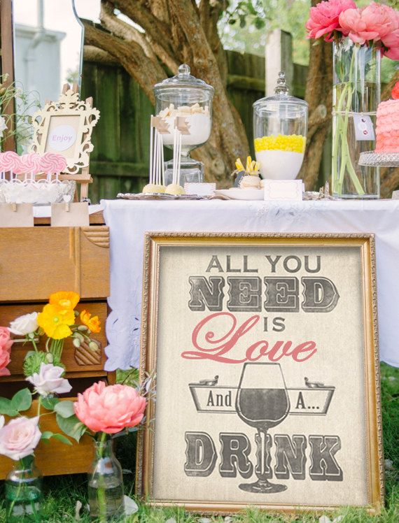All you need is love...and a drink! Love this for above the bar! I'm getting one for my wedding and my house :) Bar Sign for Wedding or Home Bar All You Need by DesignerCanvases, $12.00