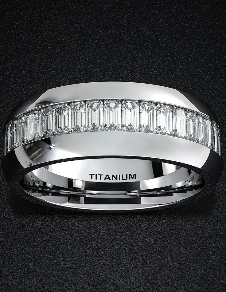 Mens Wedding Band 8mm Titanium Ring High Polished Surface Flat Cut Edges Comfort Fit with Fully Stacked Emerald Cut CZ Diamonds