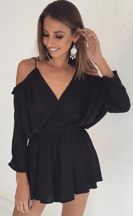 #summer #girly #outfitideas |  Black Romper