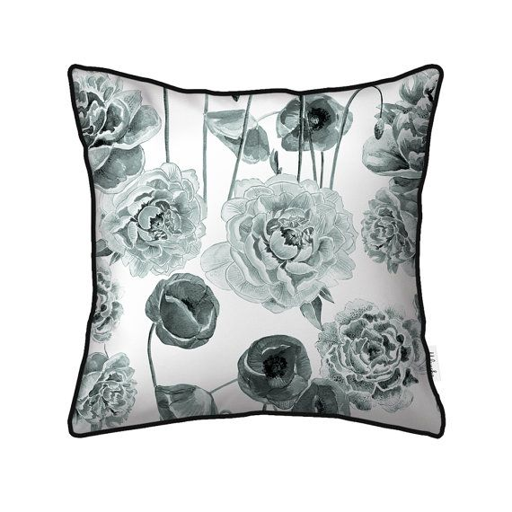 Flower black and white pillowcase with black piping by by Milenska