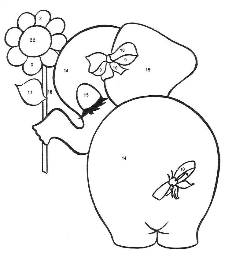 Cutie Pie Elephant • think this could actually be an applique pattern (each section is numbered but it would look lovely as a stitching.