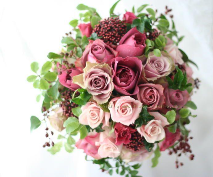 ブーケ ラウンド 深い森の中のピンク ミラコスタ様 : 一会 ウエディングの花