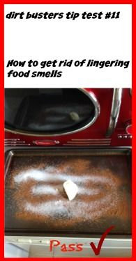 We tested someone's pin for getting rid of lingering food smells.  It worked!  Click here for the recipe - http://laceylovers.blog.ca/2015/06/03/dirt-busters-tip-test-11-getting-rid-of-lingering-food-smells-20495492/ #cleaningtips #cleaningDIY