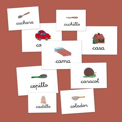 Hoy trabajamos la letra C. Fichas con imágenes para repasar vocabulario: Cereza, clavel, cubo, castillo, cuchillo, cuchara y muchas, muchas palabras más.