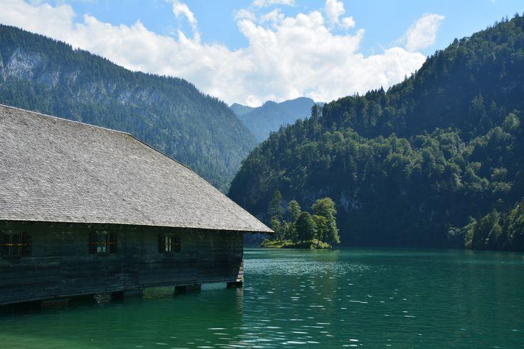 Konigsee lake with historical houses in Germany. Author-Tereza Večerková