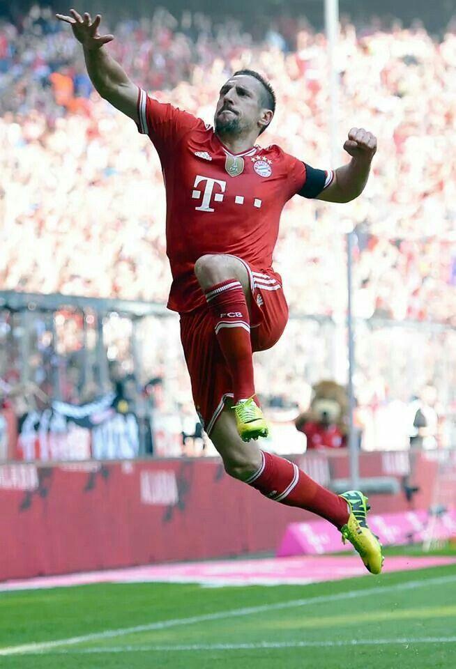 A goal celebration for Franck Ribery of Bayern Munich