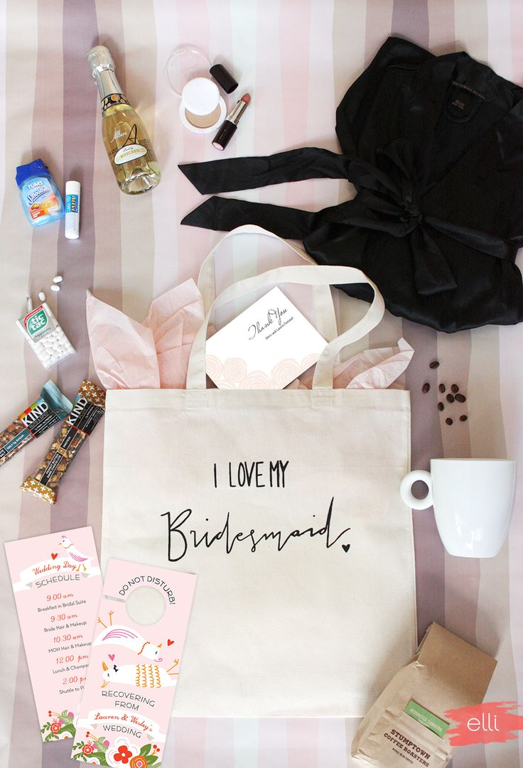 "Pamper your bridesmaids! Our new ""I Love My Bridesmaid"" tote bags by Dream State are perfect for cute bridesmaid day-of wedding kits. Include all the essentials: coffee, snack bars, champagne, cosmetics, mints, a robe and our cute customizable door hangers and thank you cards! 