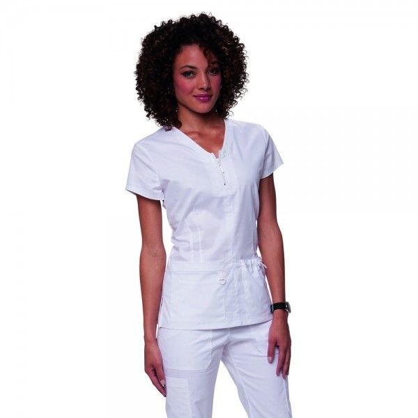 Koi Stretch Mackenzie Top in White. The koi Mackenzie Scrub Top features a stylish top stitched zipper at the front. It is made with superior stretch fabric for a figure-flattering appearance. £29.99  #medicalscrubs #nursescrubs #dentistscrubs #nurses #dentists #whitescrubs #nurseuniform