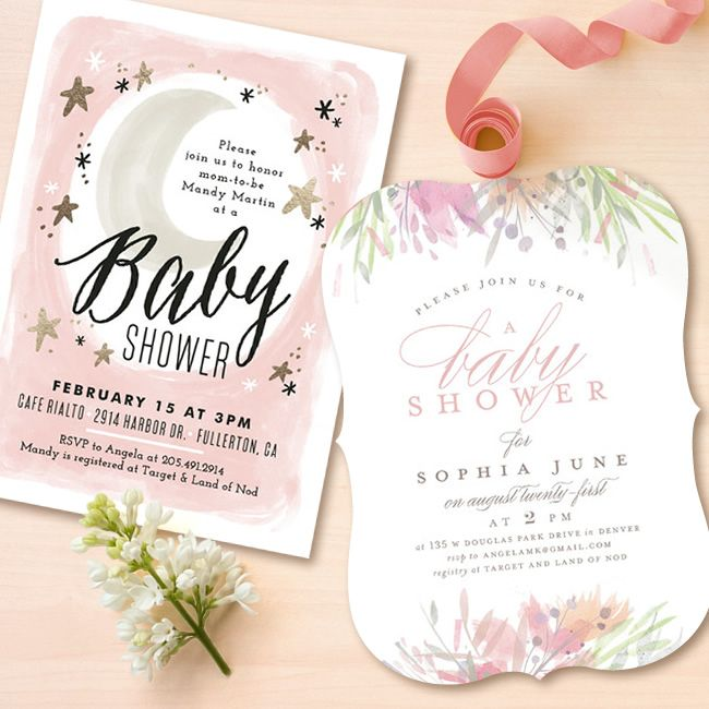 Stars And Moon Baby Shower Themed Invitation For Girls