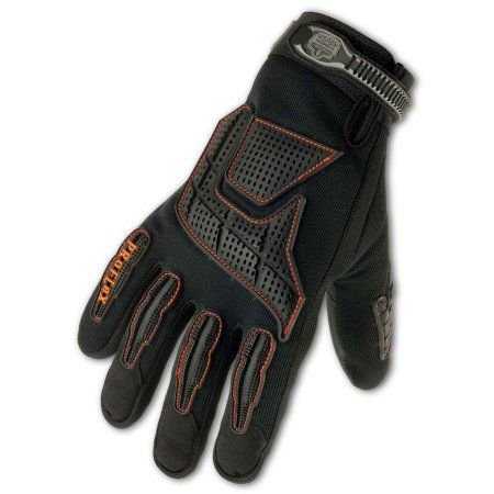 Ergodyne Large Black ProFlex 9015F(X) Full Finger Pigskin Anti-Vibration Gloves With Woven Elastic Cuff, Polymer Palm Pad, Pigskin Leather Palm And Fingers And Low Profile Closure