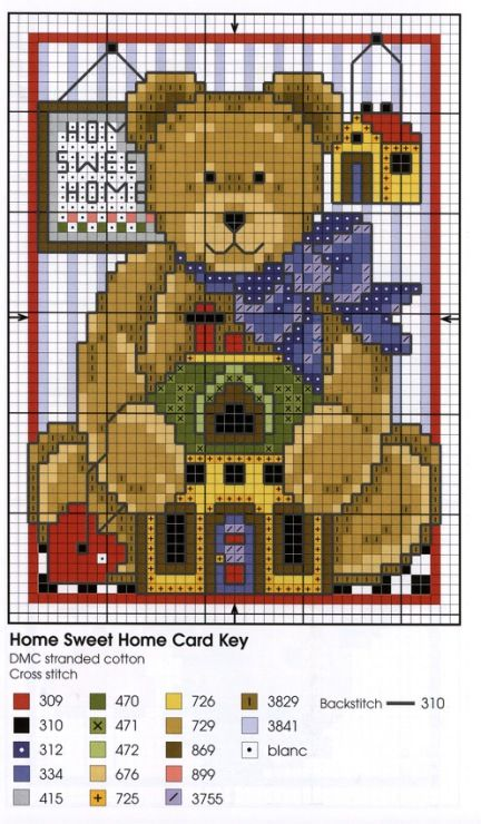 Cross Stitch Teddies home sweet home