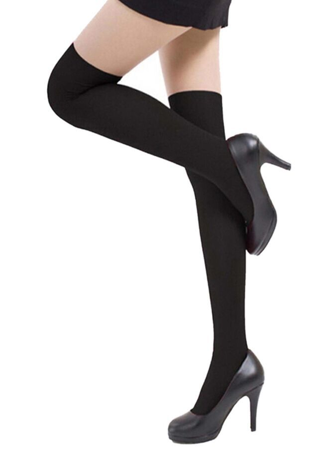 ae83503798d Full Figure Plus Size Black Nylon Opaque Thigh High Stockings Tights Hosiery  711583682520 eBay Black Nylon Opaque