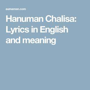 Hanuman Chalisa: Lyrics in English and meaning