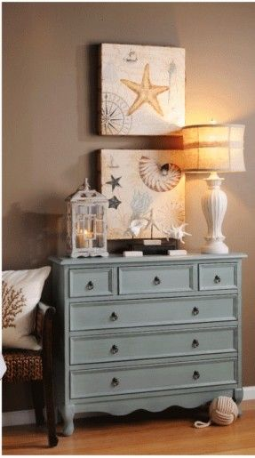 Beach,Coastal living,Seaside home decor, Chalkpaint color for dresser and neutrals