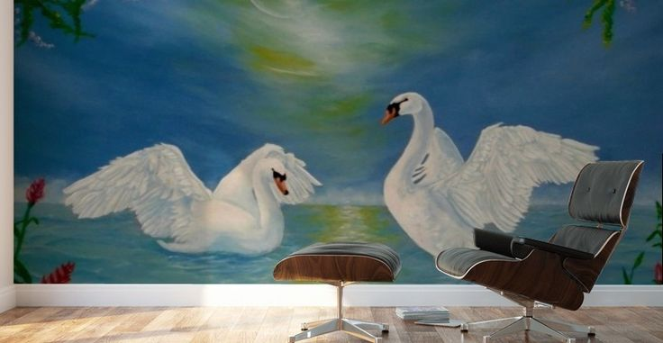 Mural print, swans,painting,lake,scene,wildlife,nature,water,vivid,colorful,aqua,blue,beautiful,awesome,cool,superb,amazing,fabulous,magnificent,contemporary,realistic,figurative,in,of,the,fine,oil,wall,art,images,home,office,decor,artwork,modern,items,ideas,for sale, hand painted, pictorem