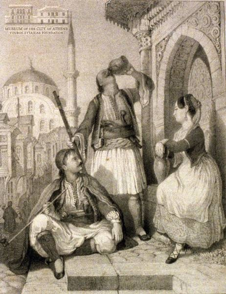 RUPP GUTSEN (1793-1854) (engraver) Two Albanian men and a Greek woman of Smyrna lithography, 16.5 x 12 cm