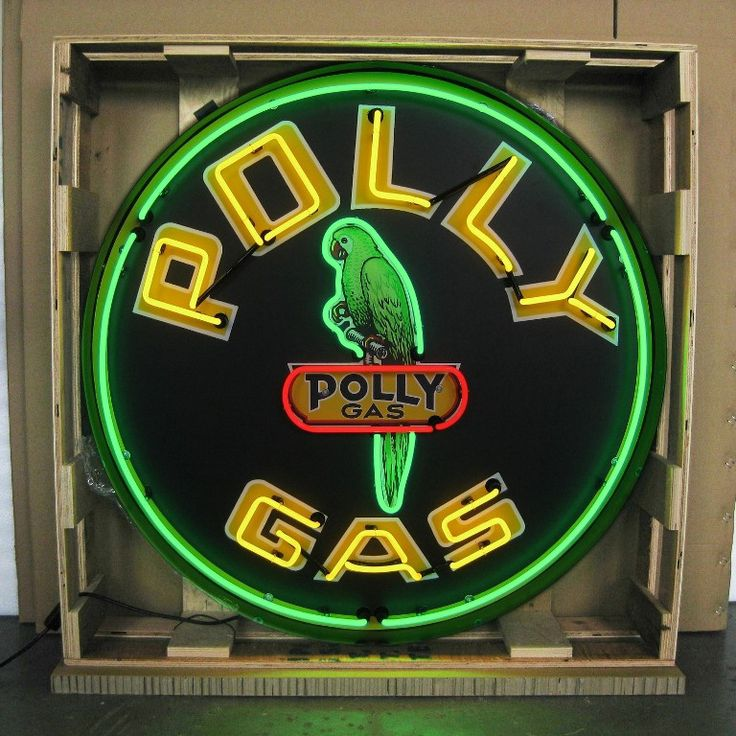 """This Polly Gas neon sign has retro styling from the pumping stations of yesterday. Light up your entire collection with this unique neon sign. - Sign is 24"""" X 24"""". - 100% hand made, gas-filled, real g"""