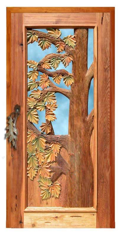 Door Hand Carved Autumn Leaves New England Region