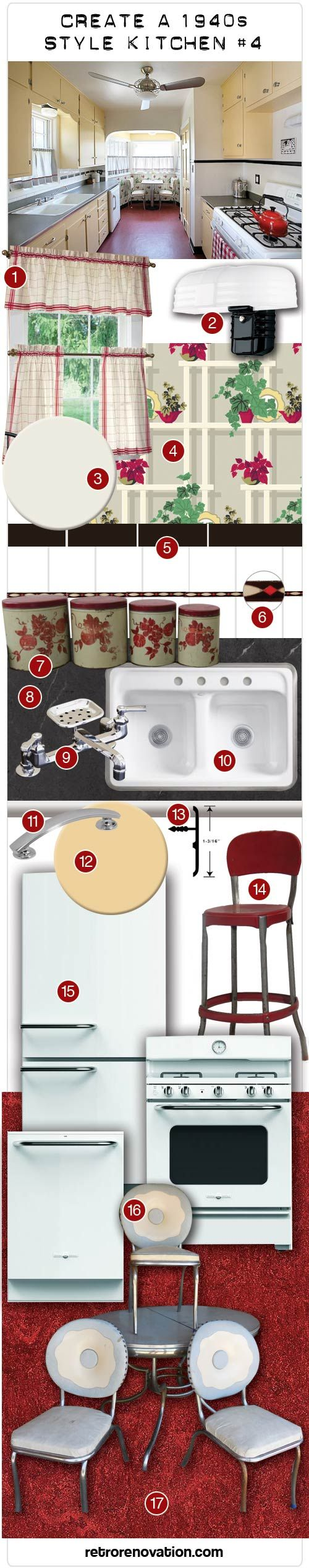 Design board to create a 1940s kitchen with yellow cabinets - Retro Renovation