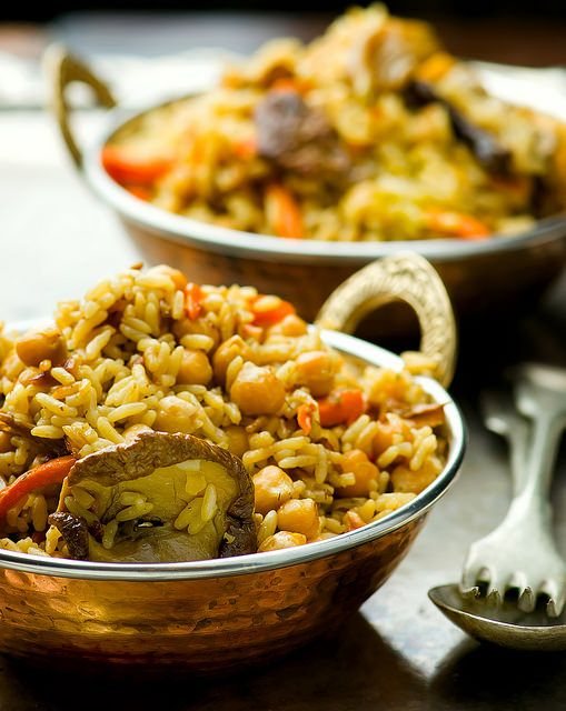 Vegetarian pilaf with chickpeas and mushrooms