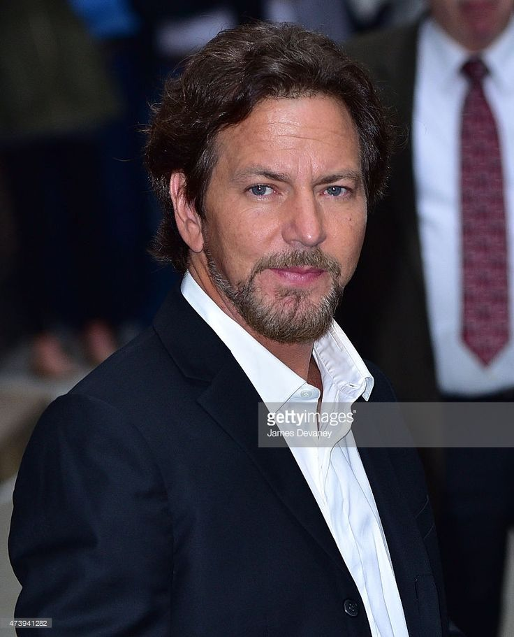 Eddie Vedder leaves the 'Late Show With David Letterman' at the Ed Sullivan Theater on May 18, 2015 in New York City.