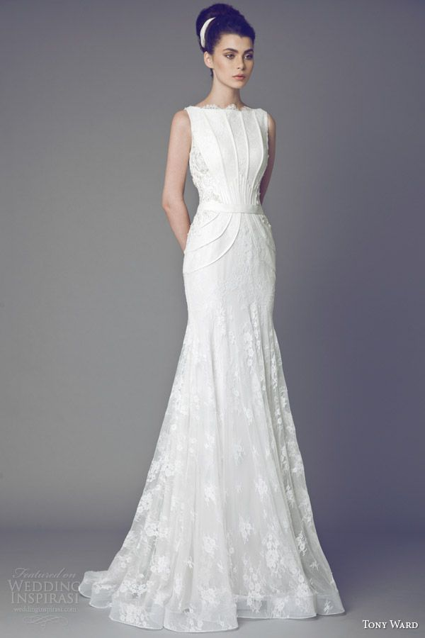 A little covered up but I still like this a lot! (tony ward couture bridal 2015 tulipe sleeveless wedding dress.)