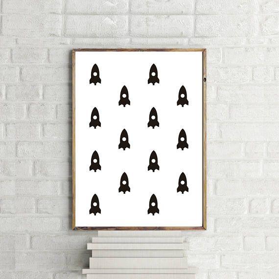 Rocket Wallpaper Print // Minimalist // Art // Typography //