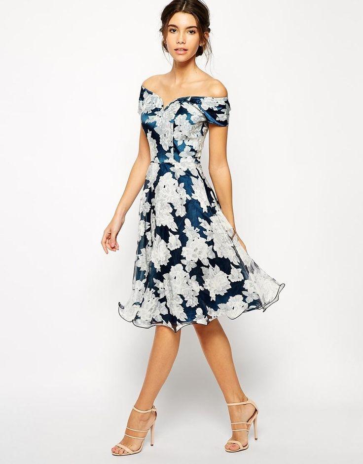 Chi Chi London | Chi Chi London Printed Organza Midi Prom Dress with Bardot Neck at ASOS