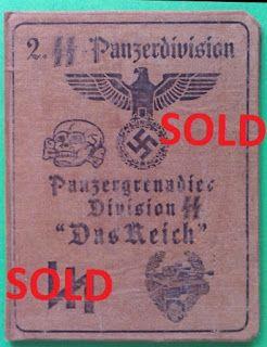 2ND SS PANZER DIVISION DAS REICH WAFFEN SS SOLDBUCH ID CARD WEHRPASS PRICE $125