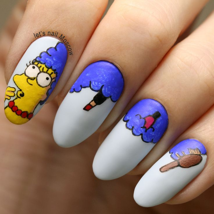 Nailpolis Museum of Nail Art | the Simpsons: marge Simpson nails ( nail art ) :) by Let's Nail Moscow