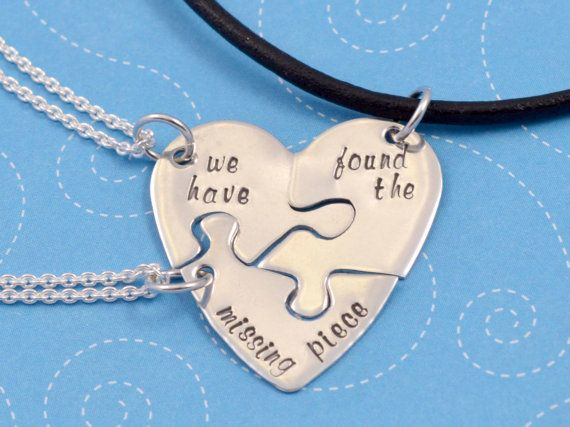 Adoption Necklace Three Piece Set, We Have Found the Missing Piece, Puzzle Piece Necklace, Handstamped Sterling Silver