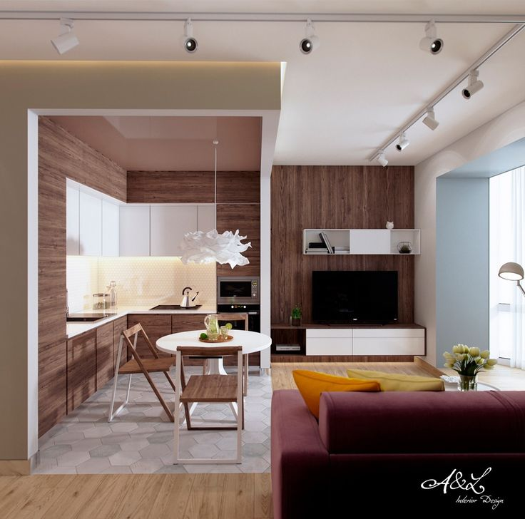 Scandinavian kitchen wod panelling white enclaves berry sofas