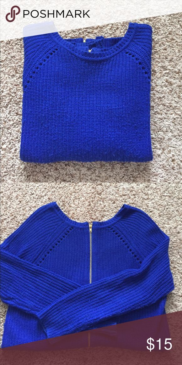 Royal Blue Sweater with Gold Zipper on Back Royal blue sweater with gold Zipper going all the way down the back Forever 21 Sweaters Crew & Scoop Necks