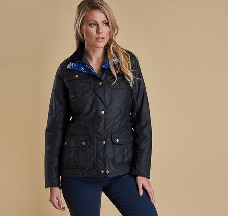 The Barbour Susannah Wax Jacket retains Barbour's classic utility styling and adds a beautiful Wedgwood floral lining and velvet trims. Its subtly tailored shape and hardy waxed cotton outer make it both stylish and practical.