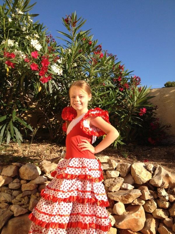 Spaanse jurk pakket SINTERKLAAS rood/wit + GRATIS haarband/diadeem | SINT AANBIEDINGEN ! | Spaanse jurk Nederland - verkleedkleding en Spaanse flamenco schoenen online
