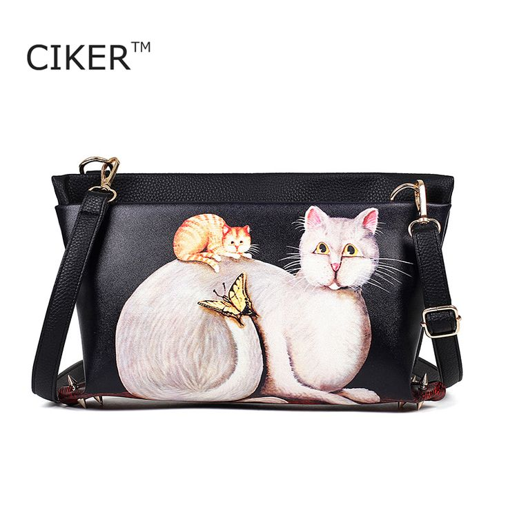 Cheap leather messenger bag, Buy Quality bag ladies directly from China hobo shoulder bag Suppliers: CIKER Women fashion leisure Hobos shoulder bag lady high quality rivet leather messenger bag cat printing handbag Crossbody Bags