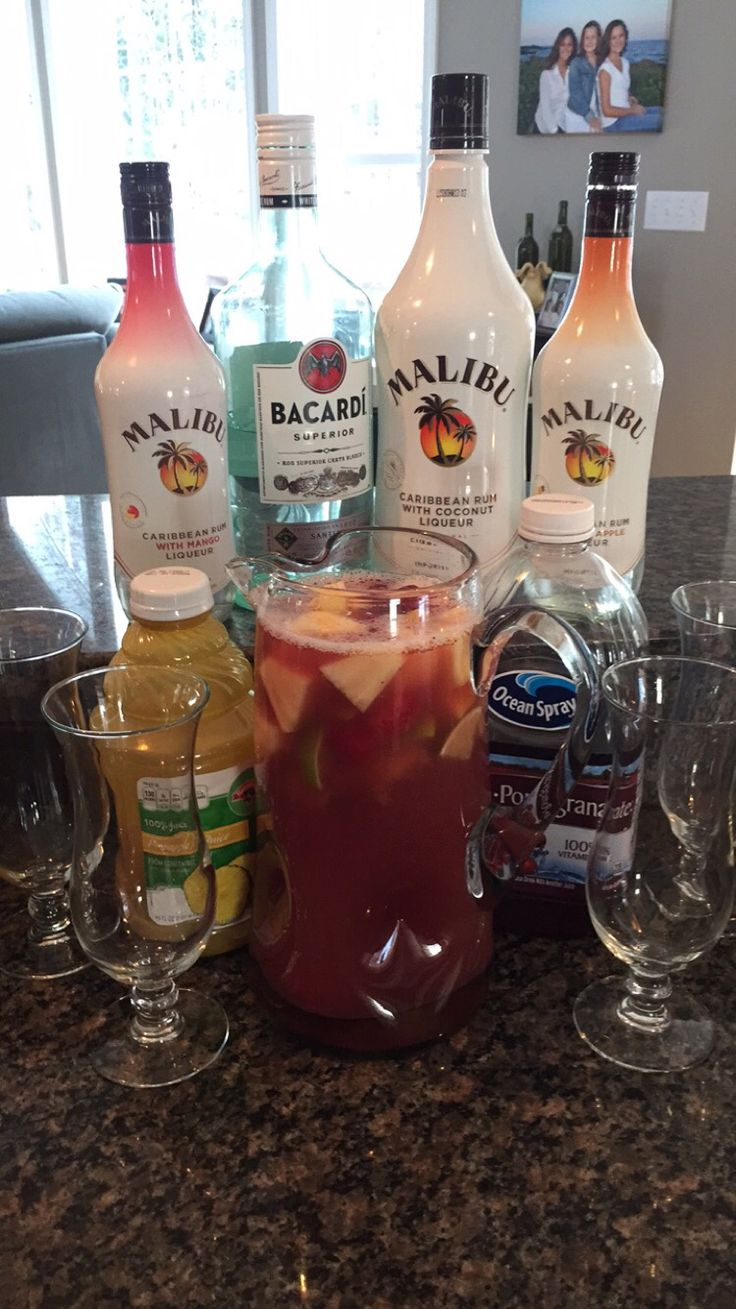 RUM PUNCH     Bacardi white rum -  1 cup  Malibu coconut rum - 1 cup  Pineapple rum - 1 cup Mango rum - 1 cup  Pineapple juice 1 ½ - 2 cups Cranberry juice 1½ - 2 cups  Mix all together (should be a light pink in color) Adjust to taste Serve with frozen fruit & limes Top with a splash of Fresca