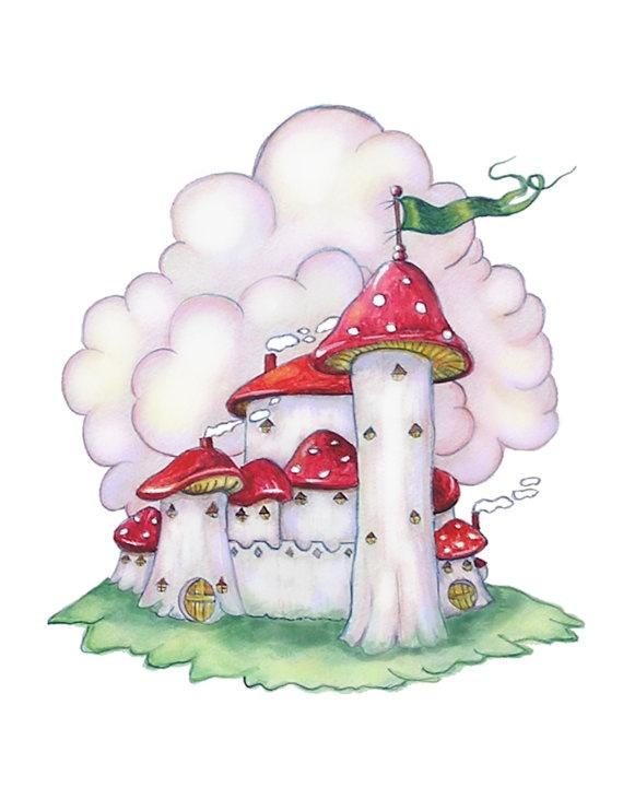 Fairy castle fairy art girl's room decor by HamiltonArtandDesign