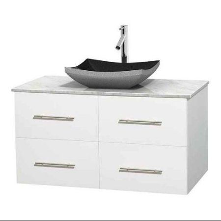 Gallery For Photographers Wyndham Collection Centra inch Single Bathroom Vanity in Matte White White Carrera Marble Countertop