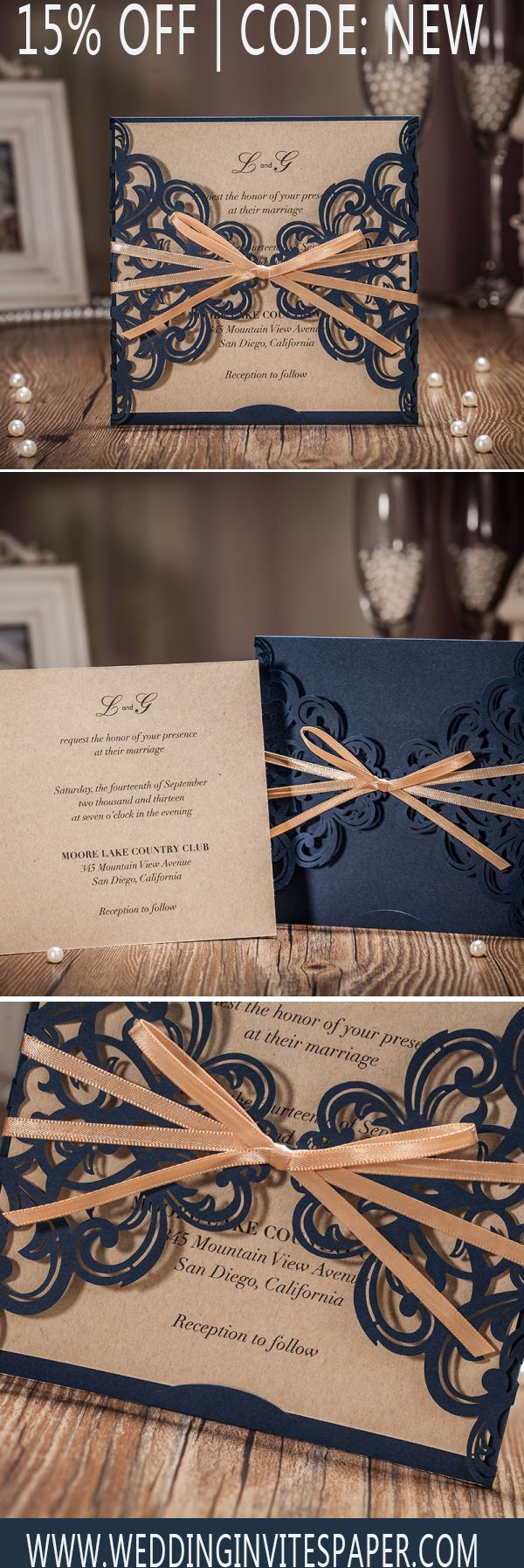 free wedding invitation templates country theme%0A Elegant Navy Blue Laser Cut Wedding Invitations With Ribbon WLC