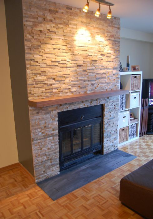 well update the fireplace facade using stack stone which is mined in Minnesota and Wisconsin
