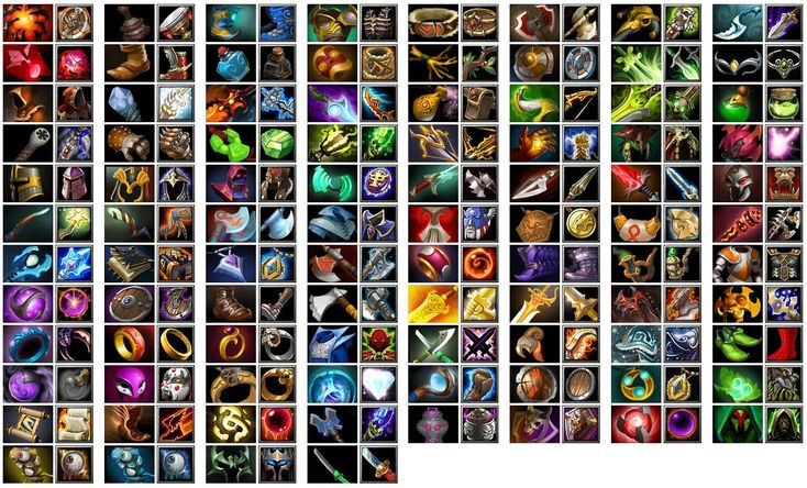 Dota 2 List of items, they all have a similar style yo each other.