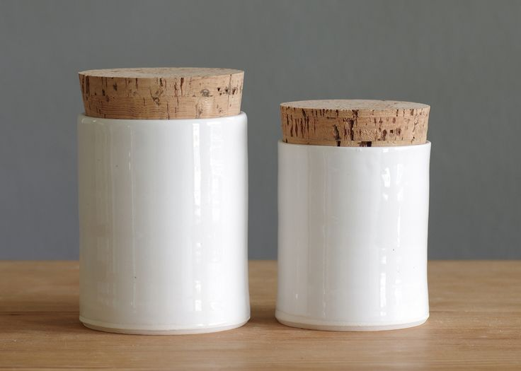 pair of porcelain canisters - white glaze Vitrified Studio | Portland OR