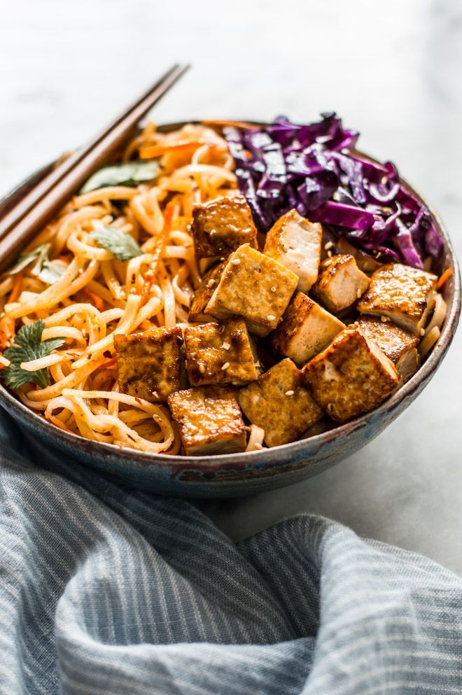 Easy Coconut Curry Stir Fry Noodles with Glazed Tofu | Healthy Nibbles & Bits