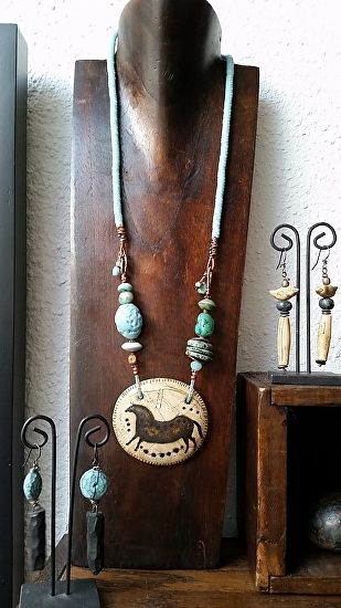 Shaman Necklace: Running Horse Clan, handmade & handpainted faux ivory artifact, antique trade beads, handmade beads by Luann Udell polymer clay ~  x