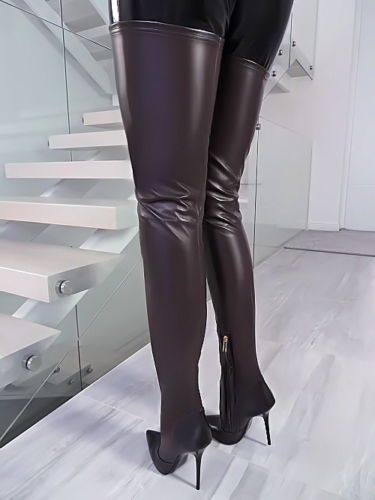 Leder Overknee Stiefel New 1969 Italy B328 Crotch Boots High Heels