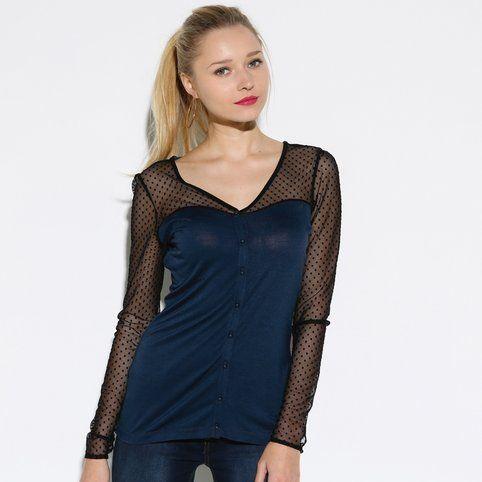 Tee-shirt chemisier manches longues fluide bi-matière résille femme - 3 Suisses