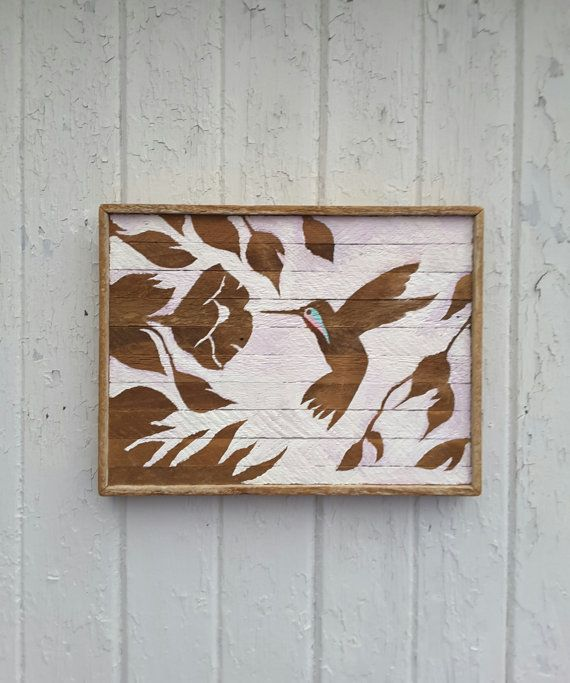 Reclaimed Wood Wall Art Hummingbird Silhouette By PastReclaimed