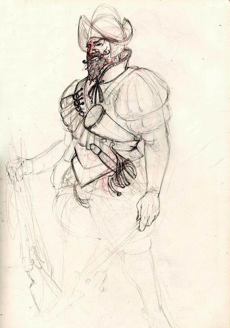 Conquistador sketch by Lapo Roccella on ArtStation.
